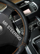 BLACK LEATHER STEERING WHEEL COVER FOR JEEP PATRIOT 2011+ ORANGE DOUBLE STITCH