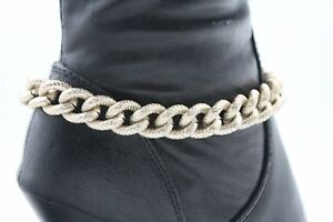 Women Metal Chain Boot Bracelet Western Shoe Charm Bling Gold Thick Wide Links