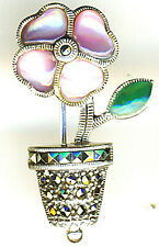 925 Sterling Silver Pink Mother of Pearl & Marcasite Brooch H 33mm