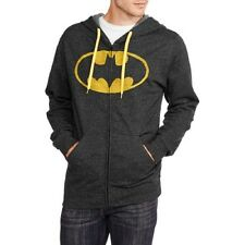 Batman Men's Zip Front Fleece Hoodie, Black, Large