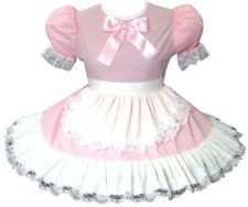"""""""Betty"""" CUSTOM FIT Lacy Pink White Cotton Apron Adult Baby Sissy Dress LEANNE"""