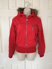 Golddigga Ladies Red Padded Hooded Bomber Jacket Waistcoat Size: 8/36