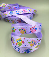 Purple 5 yd Owl Grosgrain Ribbon Bows Head Jewelry Accessories Gift Box Wrapping