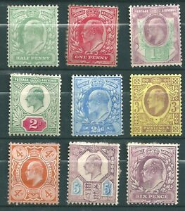 GREAT BRITAIN 1902-1913 KEVII Selection--Mint--heavy Hinged