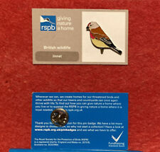 More details for rspb-pin badge (gnah) linnet  (small*font) (tick on reverse)**free post**