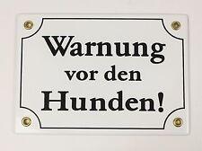 Emaille Schild Warnung vor dem HUNDEN WEIß Emailleschild Hundeschild 17x12cm neu