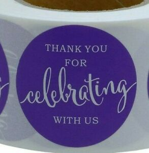 THANK YOU FOR CELEBRATING WITH US Stickers Labels Seals Gift Food PURPLE