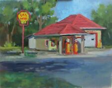 Original Fine Art Shell Gas Station Plein Air Indiana Country Impressionism