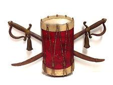 Vintage Sexton American Usa Colonial Field Drum Crossed Swords Eagle Decor