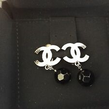 Authentic Chanel Silver And Black CC Ball Drop Earrings