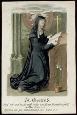 santino incisione 1800 S.GERTRUDE  dip. a mano