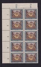 Germany - 1943 Stamp Day 6pf+24pf  Block of 10 with 'Break in 2 of 24' Variety'