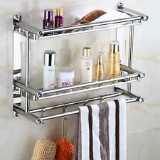 Double Chrome Towel Rail Holder Stainless Steel Wall Mounted Bathroom Rack Shelf