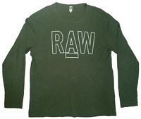 G-STAR RAW T-Shirt Nice Men's Green Tee Size XXL Long Sleeves Crew Neck Cotton