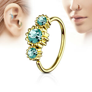 1pc Yellow Gold Three CZ Gem Hoop Nose / Cartilage Ring Rook Daith Helix Tragus