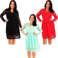 Plus Size V Neck Party Skater Dresses for Women