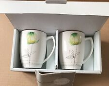 Set of 2 Hankook Nano Green Tulip COFFEE MUGS Lamour Green floral Original Box