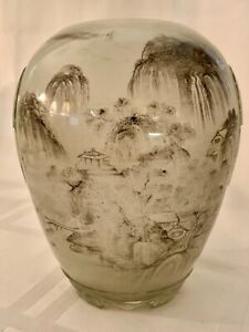 RARE OLD CHINESE PEKING GLASS VASE PAINTED SCENES INSIDE....MINT