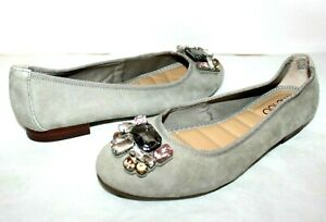 ❤️ME TOO Sapphire Jeweled Gray-Stone Suede Cushioned Ballet Flat 6 M NEW! L@@K!e