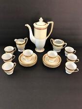 Noritake Gold White TEAPOT, SUGAR BOWL, CREAMER, DEMITASSE CUPS & SAUCERS SET