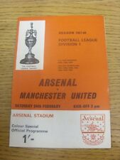 24/02/1968 Arsenal v Manchester United  (Faint Fold). Any faults are noted in br