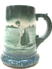 Lenox Golfer Rare Lady Old Antique Golf Mug 1890S-n i c e