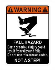 Fall Hazard Not A Step Car Door Bumper Window Sticker Decal Vinyl Hard Hat Decor
