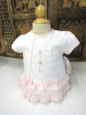 NWT Will'beth Infant Baby Girl Dress Set White Pink Ruffles Bows 3m