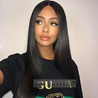 Human Hair Wig Full Head Glueless Long Straight Body Wave Remy Brazilian hair 1B