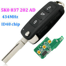 434mhz REMOTE KEY FOB 3 BUTTON 5K0 837 202 AD with 48 CAN CHIP for VW Passat