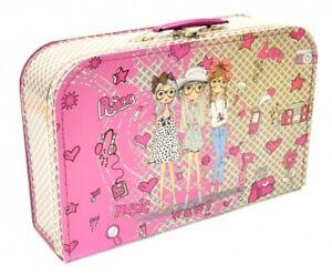 Pappkoffer Mädchen pink Spielzeugkoffer Kinderkoffer