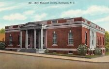 BURLINGTON, NC North Carolina  MAY MEMORIAL LIBRARY Alamance Co c1940's Postcard