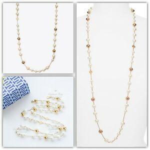 Tory Burch Logo Pearl Necklace Rosary Long Gold Authentic RV $198
