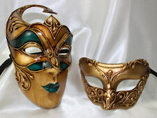 His and Hers Couples Masquerade Masks Stunning Bellissima Cremona Gold Green