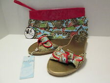 Blue Paisley Espadrille Sandals and Matching Clutch by Mud Pie, Size (9-10), NWT