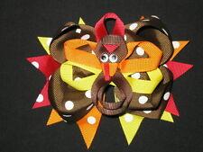 "NEW ""TURKEY POLKA-DOT"" Alligator Clips Girls Ribbon Hair Bows Fall Thanksgiving"