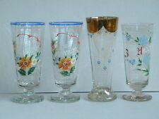 4x WEISSBIERGLAS ANDENKENGLAS EMAILMALEREI Pokalglas Becherglas Weizenbierglas
