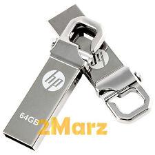 HP v250 64GB 64G USB Flash Pen Drive Storage Memory Stick Hook Clip Lock Metal