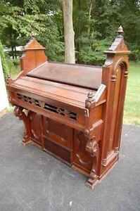 + Great older (c.1890's) Ornate Carved Wood Organ Case + Desk + chalice co.
