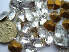 8 x Czech 12mm x 10mm Crystal Diamanté gold-foiled octagons