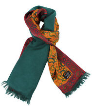 Tootal Gold Paisley Print with Green Brushed Back Silk Scarf