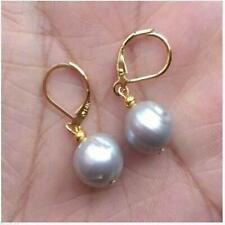 Huge 11-12mm AAA South Sea Baroque Gray Pearl Earring 14k Jewelry Mesmerizing