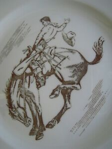 """Vintage WESTERN RODEO COWBOY ON HORSE PATTERN 9"""" DINNER PLATE BUFFALO CHINA"""