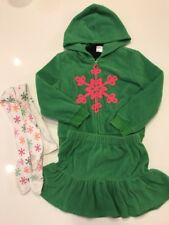 Gymboree Cheery All The Way 4 pc set Green Fleece Hoodie  Skirt black top sz 5 6