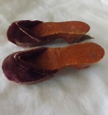 Vintage Miniature Stained Wood Burgundy Red Velvet Doll Sandals Shoes Pair Set 2
