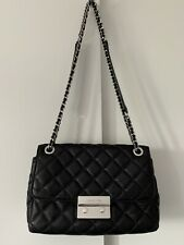 Michael Kors Sloan Black Lambskin Quilted Leather Convertible Crossbody Bag