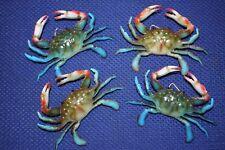 (4) Crab Shack Christmas Tree Ornaments, Blue Crab Replicas 3 3/4 inch,