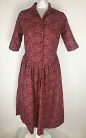 ST Michaels Vintage Red Floral Brushed Cotton Button Down Tea Dress UK 10