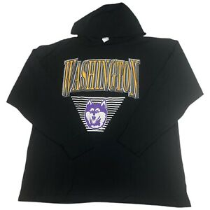 University Washington Huskies 90s Vintage Waffle Knit Thermal Sweatshirt XL Hood