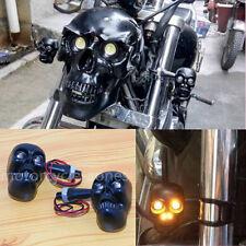 Skull Turn Signal Lights Indicators For Harley Crusier Chopper Custom Cafe Racer